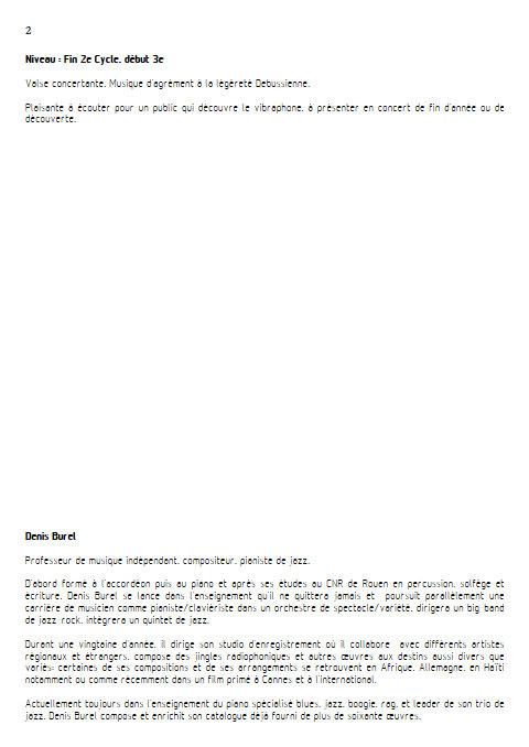 Valsens - Duo Vibraphone et Piano - BUREL D. - Educationnal sheet