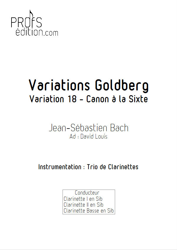Variations Goldberg - Trio Clarinettes - BACH J. S. - front page