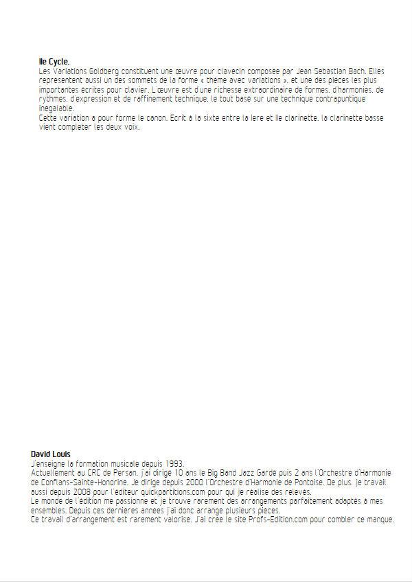 Variations Goldberg - Trio Clarinettes - BACH J. S. - Educationnal sheet