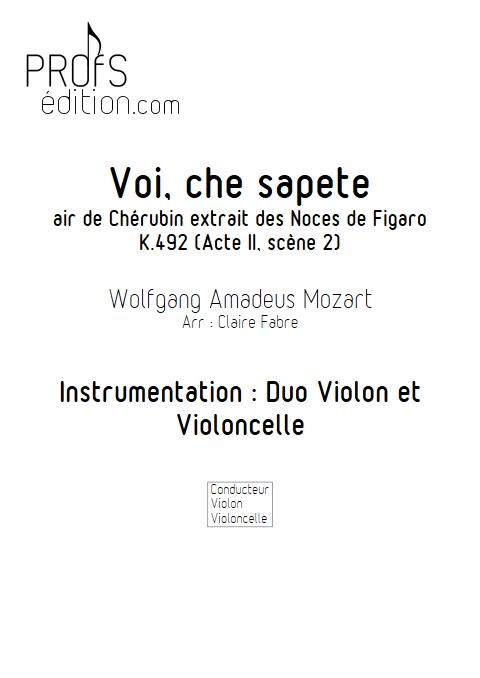 Voi che sapete - Duo Violon Violoncelle - BIZET G. - front page