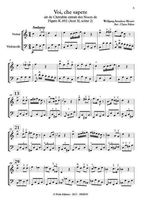 Voi che sapete - Duo Violon Violoncelle - BIZET G. - app.scorescoreTitle