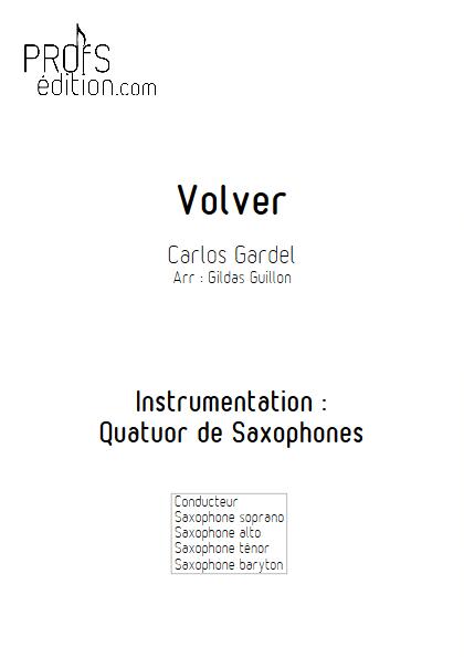 Volver - Quatuor de Saxophones - GARDEL C. - front page