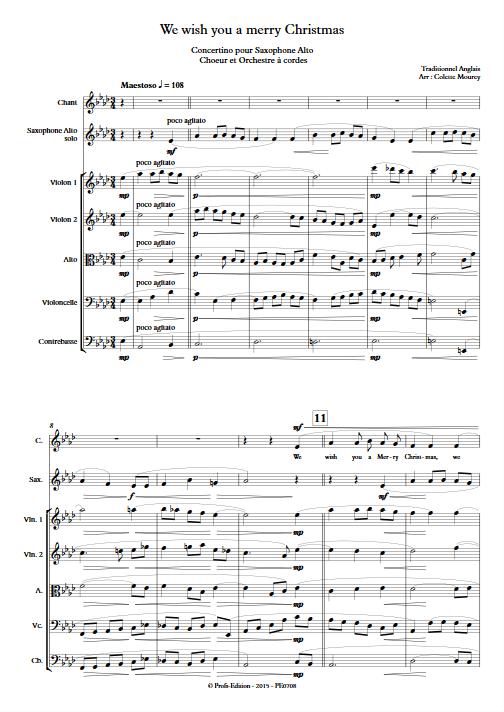 We Wish You a Merry Christmas – Saxophone Chant Orchestre à Cordes - MOUREY C. - app.scorescoreTitle