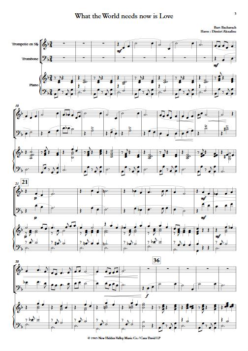 What The World Needs Now is Love - Trio Trompette Trombone Piano - BACHARACH B. - app.scorescoreTitle