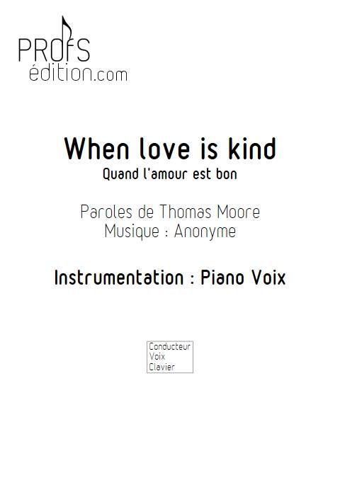 When Love Is Kind - Piano Voix - ANONYME - front page