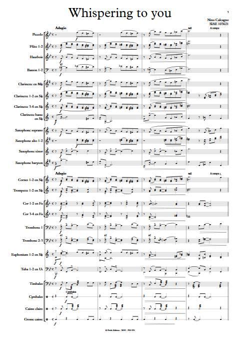 Whispering to you - Orchestre d'Harmonie - CALCAGNO N. - app.scorescoreTitle