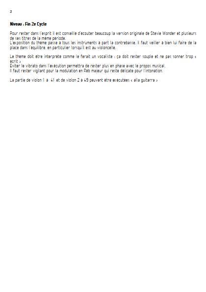 You are the sunshine of my life - Quintette ou Orchestre à Cordes - WONDER S. - Educationnal sheet