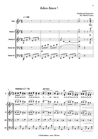 Adios amor - Ensemble Variable - TRADITIONNEL EQUATORIEN - app.scorescoreTitle