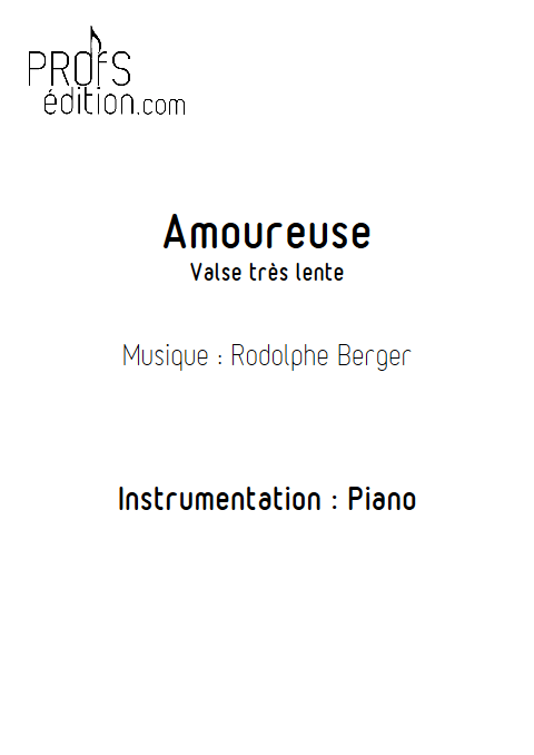 Amoureuse - Piano - BERGER R. - front page
