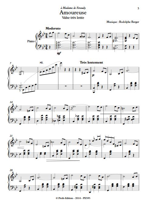 Amoureuse - Piano - BERGER R. - app.scorescoreTitle