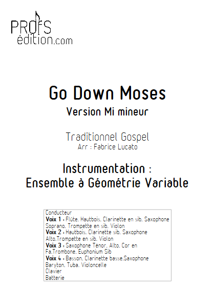 Go Down Moses - Ensemble à Géométrie Variable - GOSPEL - front page