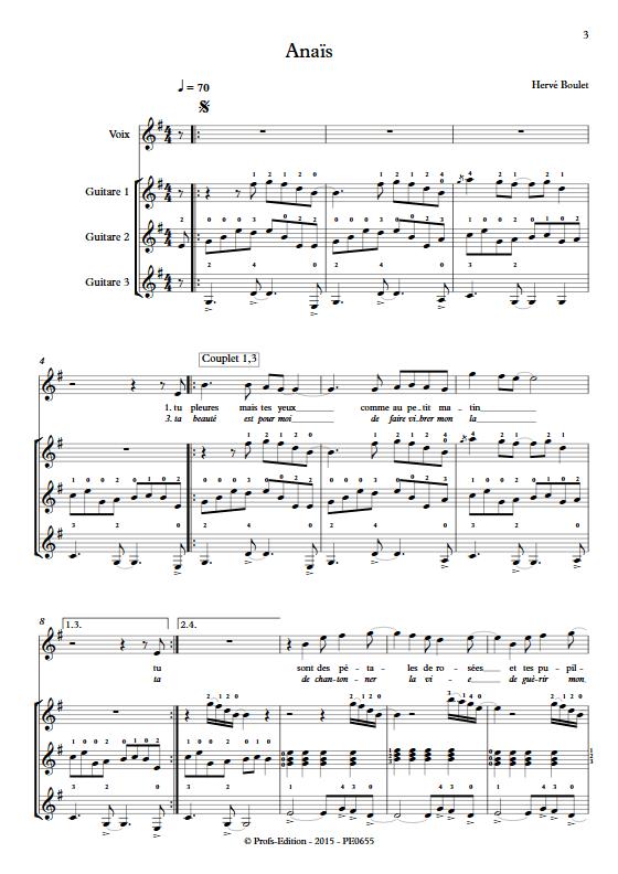 Anaïs - Trio de Guitares & Voix- BOULET H. - app.scorescoreTitle