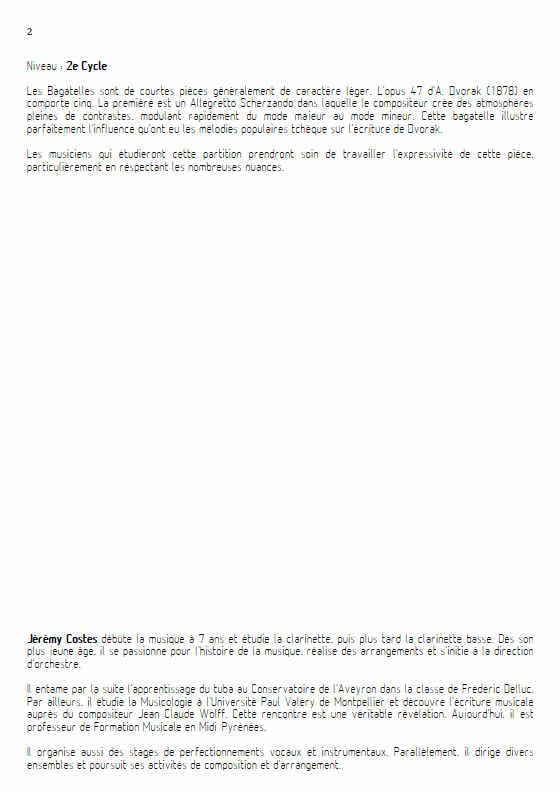 Bagatelle Op.47 - Quatuor Clarinettes - DVORAK A. - Educationnal sheet