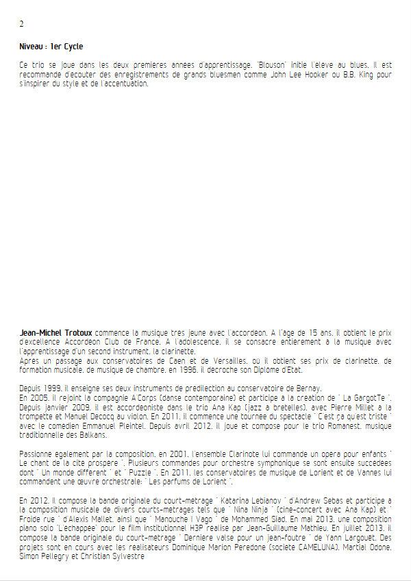 Blouson - Trio de Violons - TROTOUX J. M. - Educationnal sheet