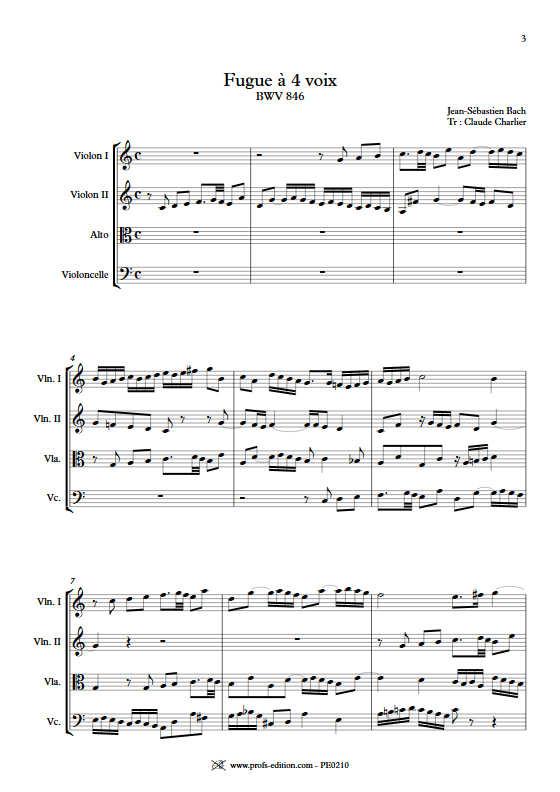 Clavier bien tempéré BWV 846 - Quatuor à Cordes - BACH J. S. - app.scorescoreTitle