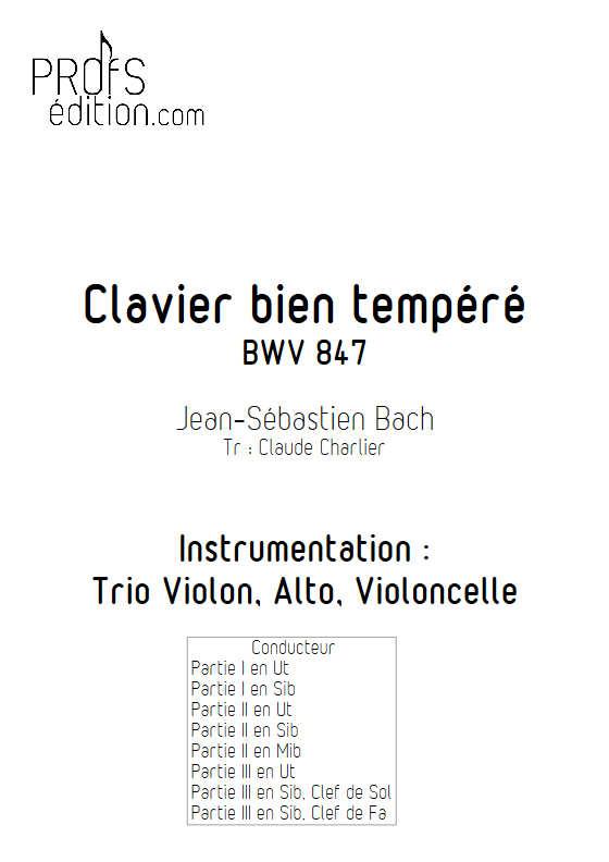 Clavier bien tempéré BWV 847 - Trio - BACH J. S. - front page