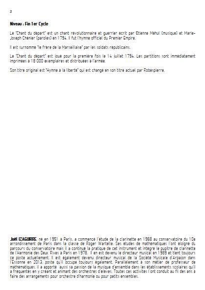 Chant du départ - Fanfare - MEHUL E. N. - Educationnal sheet