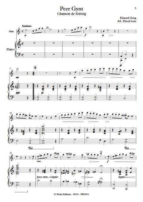 Chanson de Solveig (Peer Gynt) - Flûte et Piano - GRIEG E. - app.scorescoreTitle
