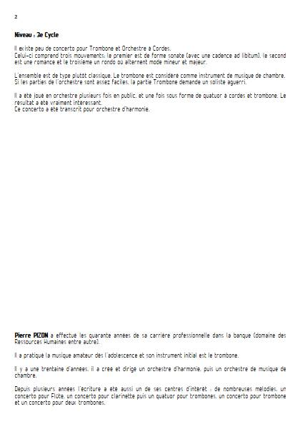 Concerto pour Trombone - Trombone & Cordes - PIZON P. - Educationnal sheet