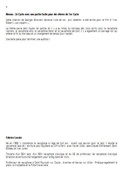 Les copains d'abord - Ensemble de Saxophones - BRASSENS G; - Educationnal sheet