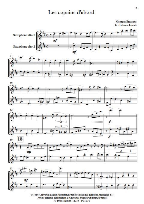 Les copains d'abord - Duo de Saxophones - BRASSENS G. - app.scorescoreTitle