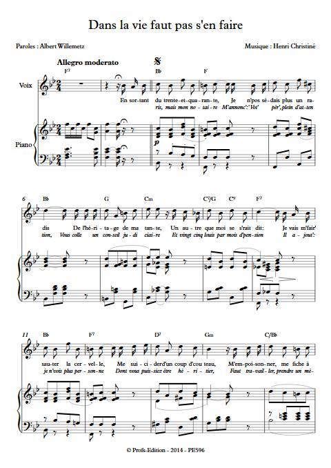 Dans la vie faut pas s'en faire - Piano & Voix - CHRISTINE H. - Educationnal sheet