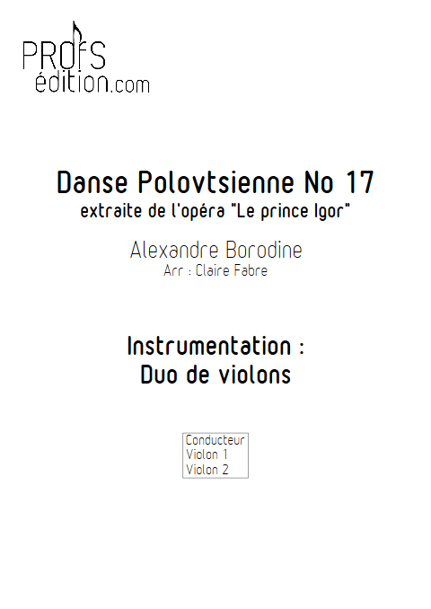 Danse Polovtsienne - Duo Violons - BORODINE A. - front page