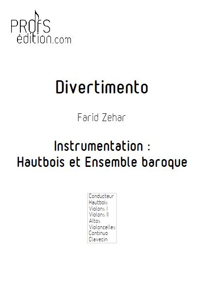 Divertimento - Hautbois & Ensemble Baroque - ZEHAR F. - front page
