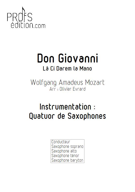 La Ci darem La Mano (Don Giovanni) - Quatuor de Saxophones - MOZART W. A. - front page