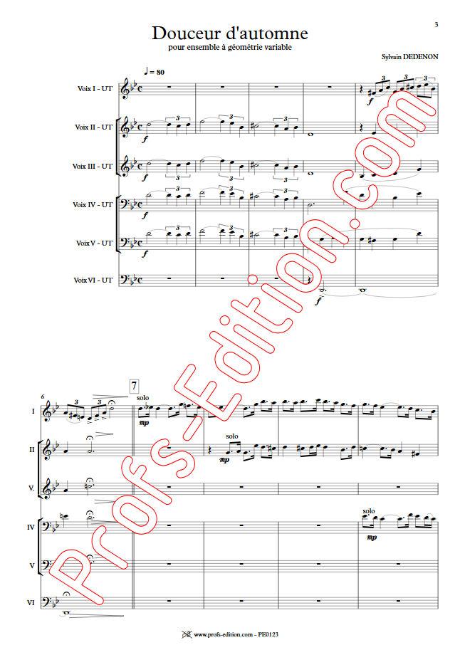 Douceur d'Automne - Ensemble Géométrie Variable - DEDENON S. - app.scorescoreTitle