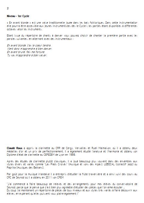 En Avant Blonde - Ensemble à Géométrie Variable - TRADITIONNEL - Educationnal sheet