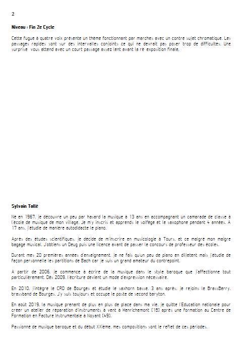 fugue 4 vents - Quatuor à vents - TALLE S. - Educationnal sheet