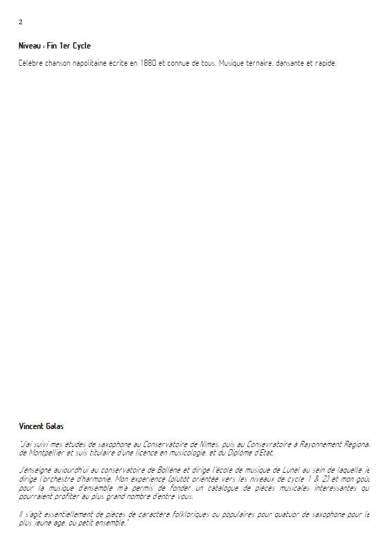 Funiculi funicula - Ensemble de Saxophones - DENZA L. - Educationnal sheet