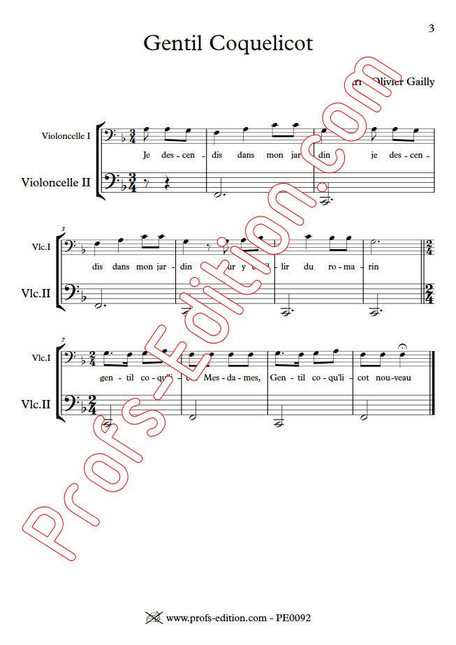 Gentil Coquelicot - Duo Violoncelles - TRADITIONNEL - app.scorescoreTitle