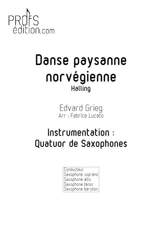 Danse paysanne norvégienne - Quatuor de Saxophones - GRIEG E. - front page