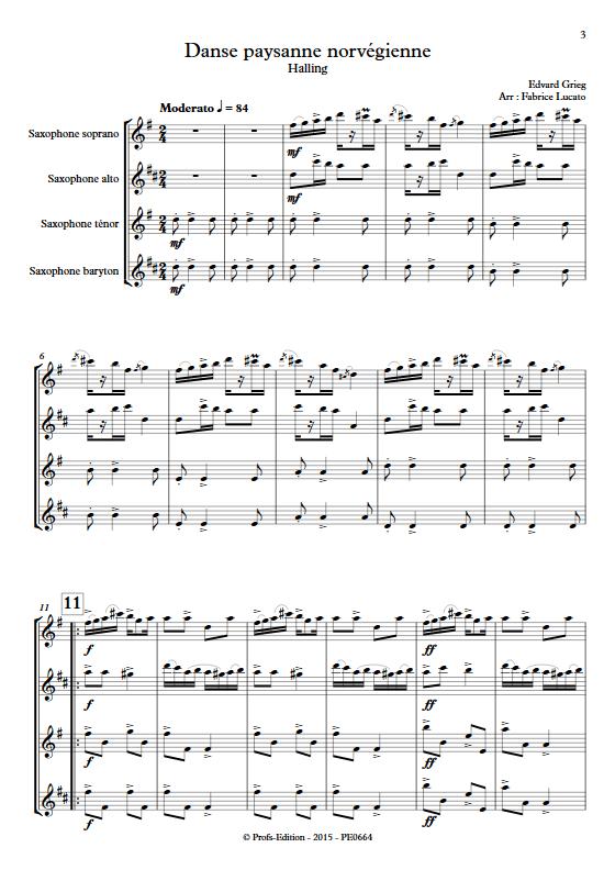 Danse paysanne norvégienne - Quatuor de Saxophones - GRIEG E. - app.scorescoreTitle