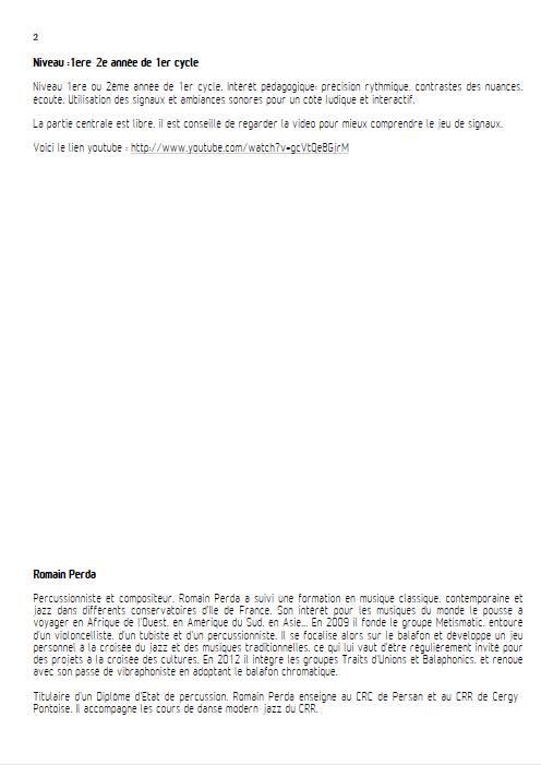 Intempéries - Quintette Percussions - PERDA R. - Educationnal sheet