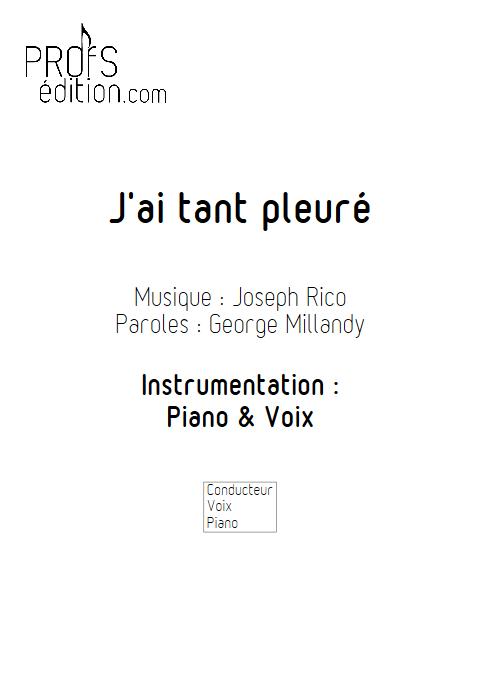 J'ai tant pleuré - Piano & Voix - RICO J. - front page