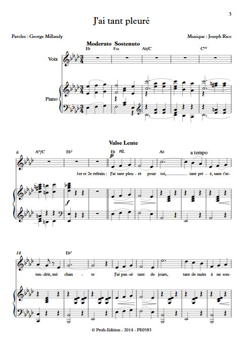 J'ai tant pleuré - Piano & Voix - RICO J. - app.scorescoreTitle