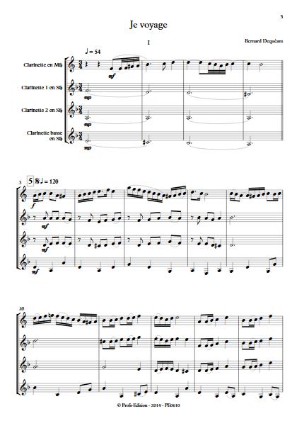Je voyage - Quatuor de Clarinettes - DEQUEANT B. - app.scorescoreTitle