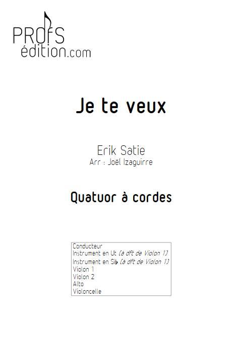 Je te veux - Quatuor à cordes - SATIE E. - front page