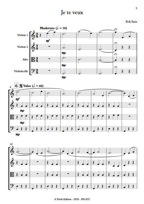 Je te veux - Quatuor à cordes - SATIE E. - app.scorescoreTitle