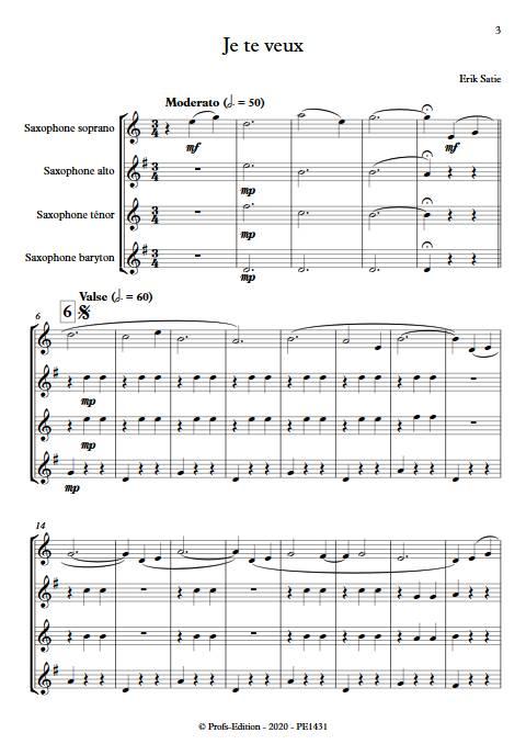 Je te veux - Quatuor de Saxophones - SATIE E. - app.scorescoreTitle