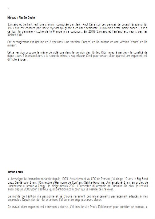 L'Oiseau et l'enfant -Ensemble à Géométrie Variable - CARA J.P. - Educationnal sheet