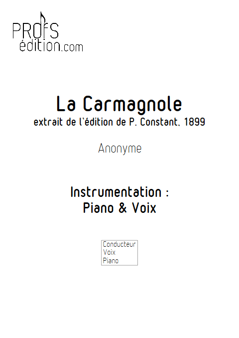 La Carmagnole - Piano & Voix - ANONYME - front page