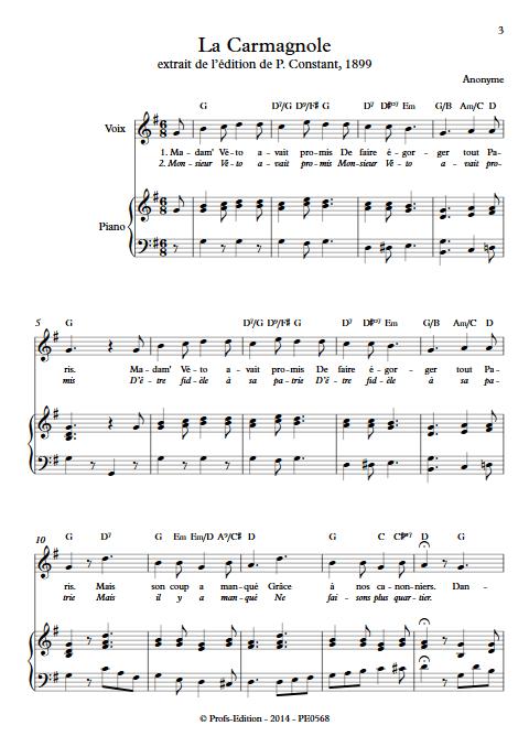 La Carmagnole - Piano & Voix - ANONYME - app.scorescoreTitle