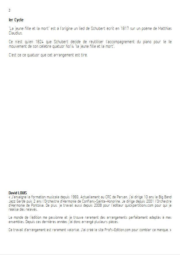La jeune fille et la Mort - Ensemble Géométrie Variable - SCHUBERT F. - Educationnal sheet