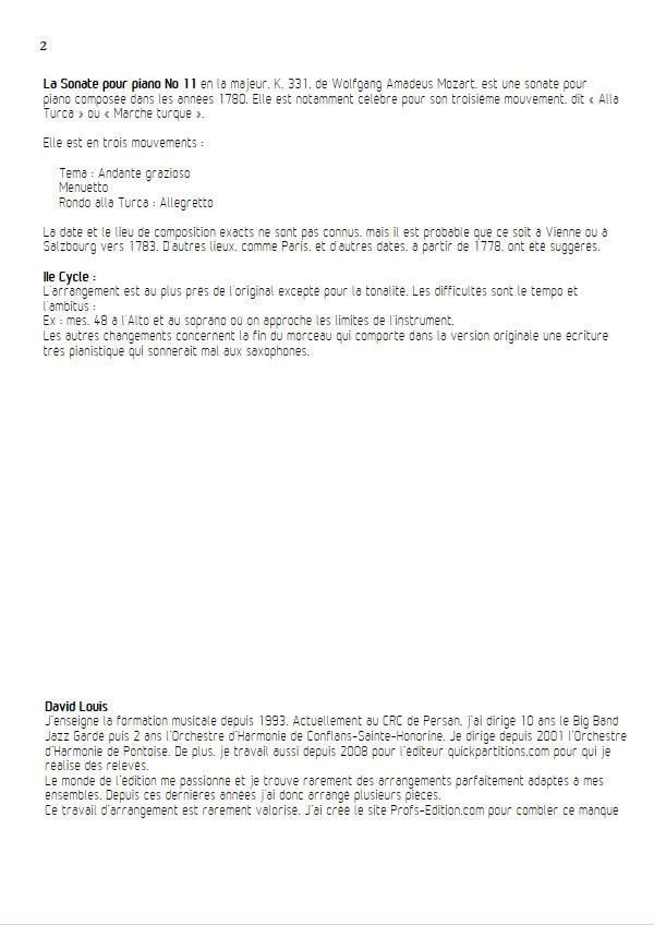 Marche Turque - Quatuor Saxophones - MOZART W. A. - Educationnal sheet
