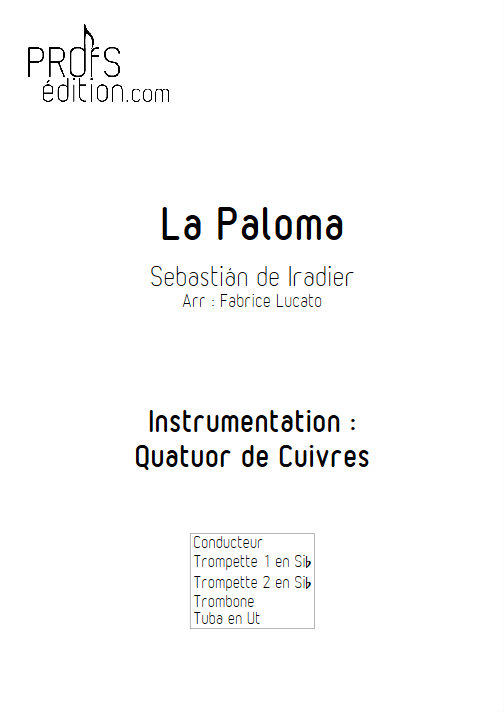 La Paloma - Quatuor de Cuivres - IRADIER S. - front page