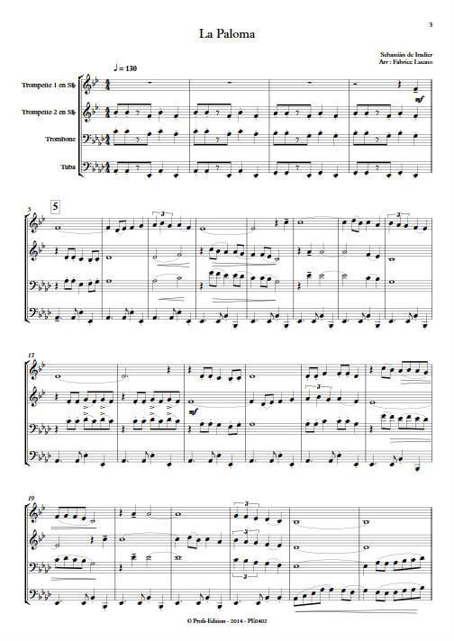 La Paloma - Quatuor de Cuivres - IRADIER S. - app.scorescoreTitle